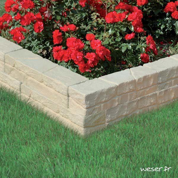 Muret-bordure droit de jardin Chinon Weser - en pierre reconstituée - Crème