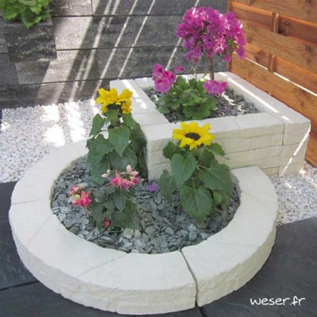 Murets-bordures droits et courbes de jardin Chinon Weser - en pierre reconstituée - Crème