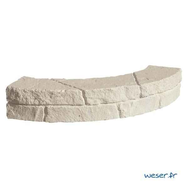 Muret-bordure courbe de jardin Chinon Weser - en pierre reconstituée - Crème