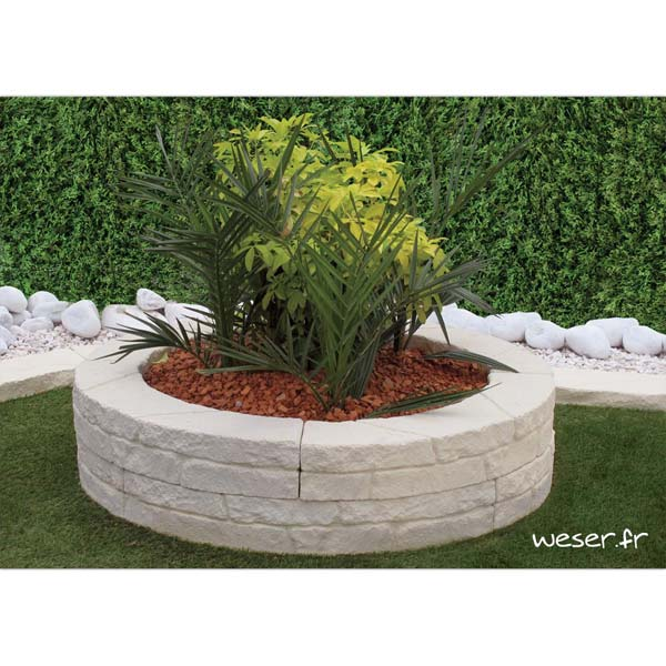 Muret-bordure courbe de jardin et encerclage d'arbre Chinon Weser - en pierre reconstituée - Crème