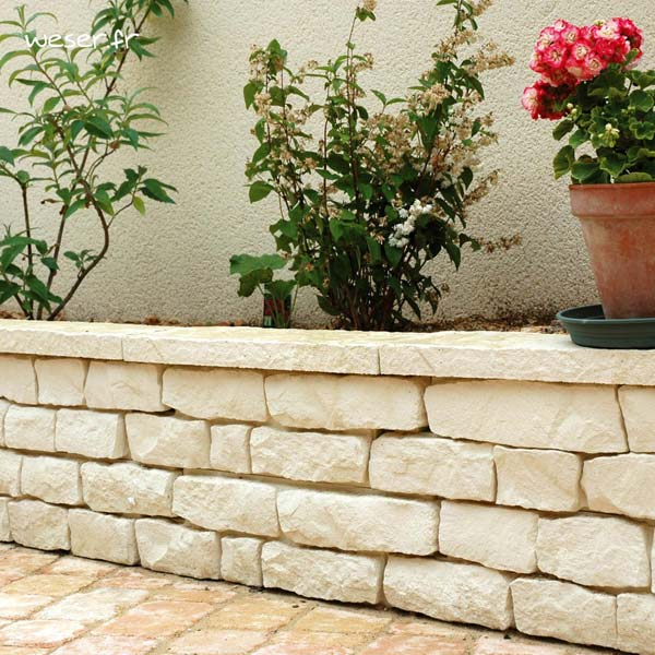 Muret Garrigue pour le jardin Weser - en pierre reconstituée aspect pierre Sèche - Crème