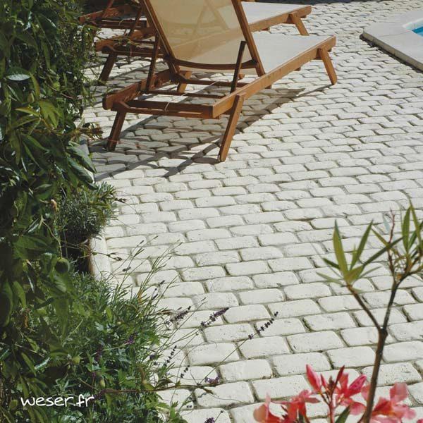 Bande de Pavés Chinon Weser - en pierre reconstituée - Coloris Crème