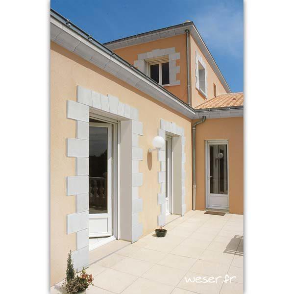 Parement / Habillage de porte et fenêtre et corniche Doucine Weser - en pierre reconstituée compactée - Coloris Blanc Cassé
