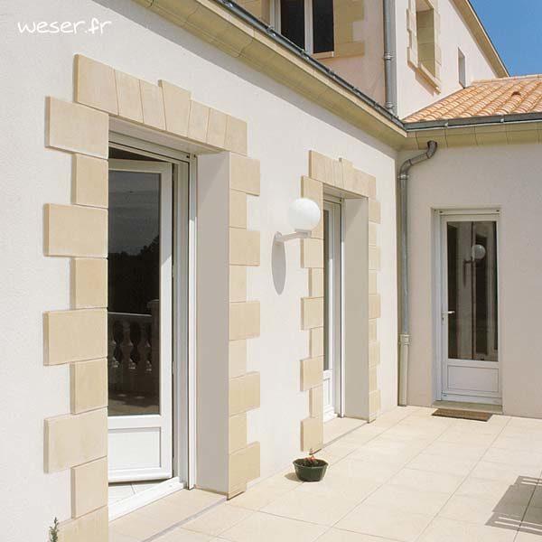 Parement / Habillage de porte et fenêtre et corniche Doucine Weser - en pierre reconstituée compactée - Coloris Ton pierre
