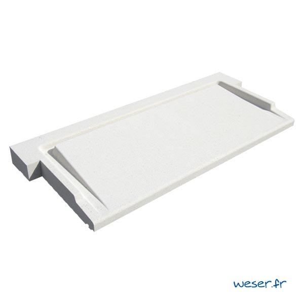 Seuil de porte UNIVERSEL à pose simplifiée largeur 40 cm Weser - en pierre reconstituée compactée - Coloris Blanc Cassé