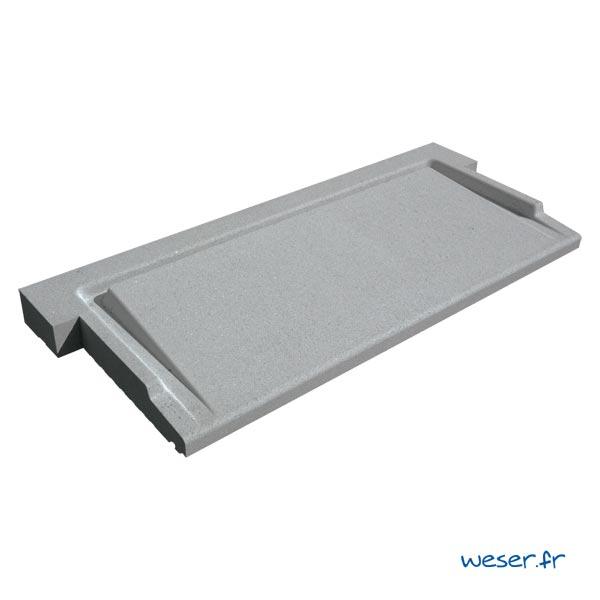 Seuil de porte UNIVERSEL à pose simplifiée largeur 40 cm Weser - en pierre reconstituée compactée - Coloris Gris