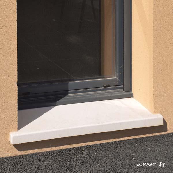 Seuil de porte Tradition largeur 35 cm Weser - en pierre reconstituée coulée - Coloris Blanc Tradition