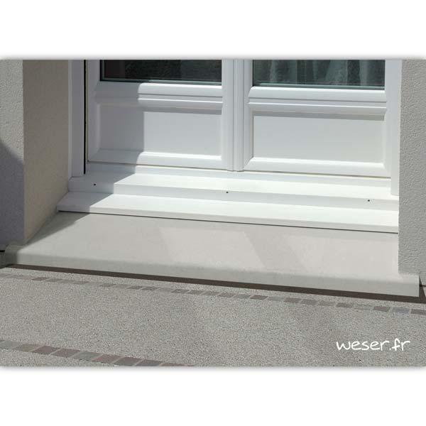 Seuil de porte Classique largeur 34 Weser - en pierre reconstituée compactée - Coloris Blanc cassé