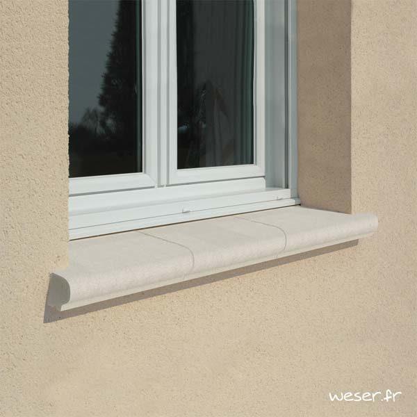 Tablette d'appui de fenêtre largeur 35 cm Weser - en pierre reconstituée compactée - Coloris Blanc Cassé