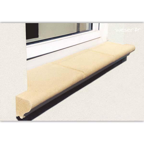 Tablette d'appui de fenêtre largeur 35 cm Weser - en pierre reconstituée compactée - Coloris Ton pierre