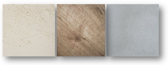 Trois image de matières, la pierre, le bois et le béton.