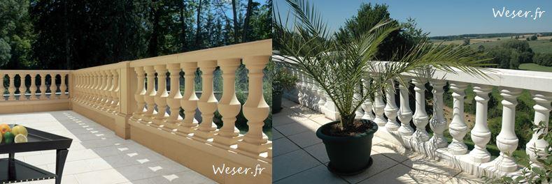 Balustrades Royan et trumeaux sable WESER - Balustrades Barcelone blanche WESER