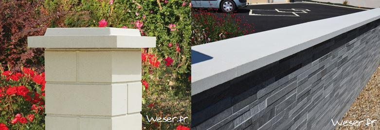 Chapeau de pilier plat à double couronnement blanc cassé, pilier lisse blanc cassé - chaperon muret optipose gris WESER
