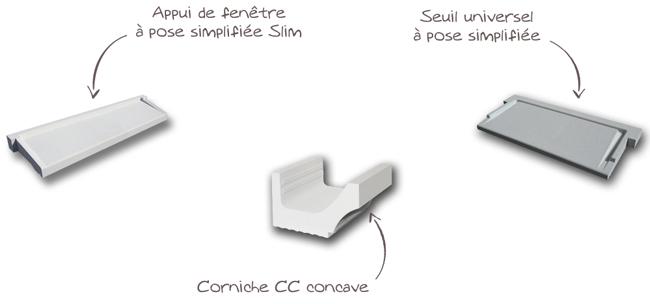 Explicatif corniche cc concave - Seuil de porte universel pose simplifiée - appui de fenêtre pose simplifiée