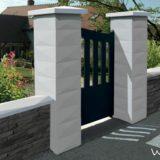 Pilier de portail Trigone WESER Blanc cassé et chaperons de mur Trigone optipose 1 mètre, blanc cassé WESER