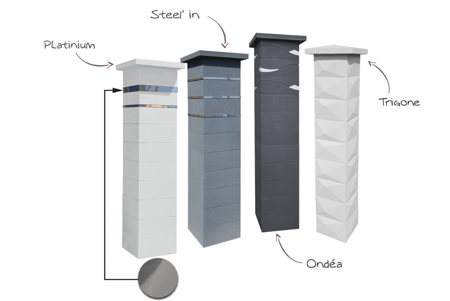 Différents modèles de pilier de portails correspondants au style contemporain. Pilier Platinum, Pilier Steelin, pilier ondéa, pilier trigone WESER