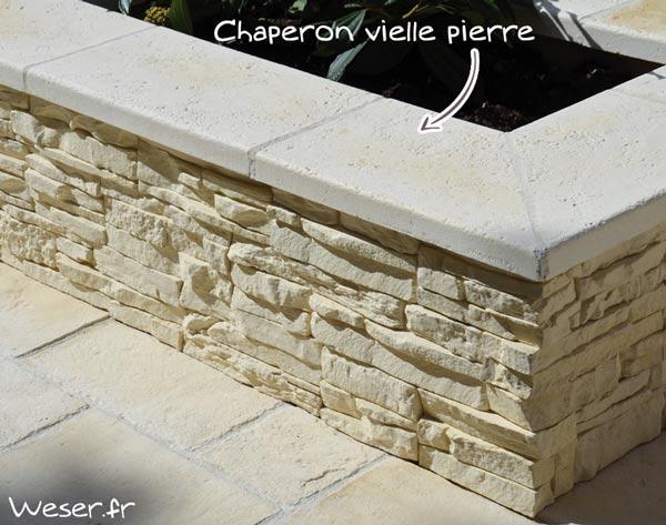 Chaperon de mur vielle pierre plat blanc tradition WESER