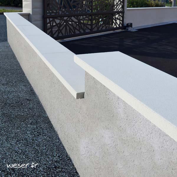 Couvre-mur OPTIPOSE® PLAT - longueur 1 mètre, largeur 30 cm - Blanc cassé - Weser