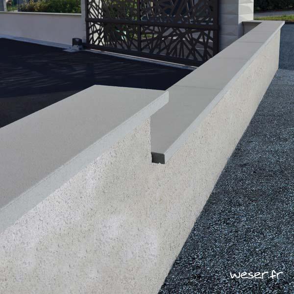 Couvre-mur OPTIPOSE® PLAT - longueur 1 mètre, largeur 30 cm - Gris - Weser
