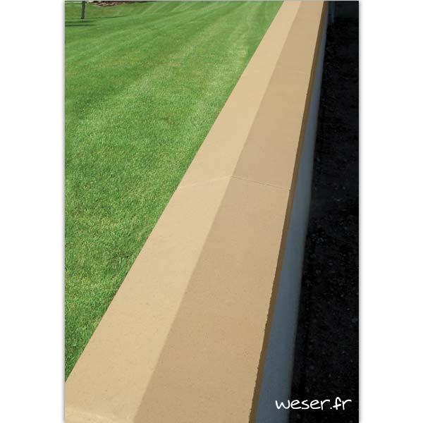 Couvre-mur OPTIPOSE® 2 pentes - largeur 30, longueur 1 mètre - Ton pierre - Weser