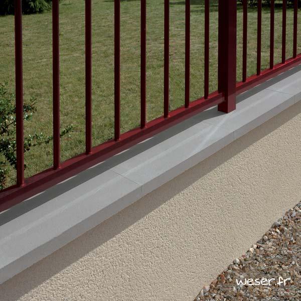 Couvre-mur OPTIPOSE® PLAT - longueur 0,5 mètre, largeur 28 cm - Gris - Weser