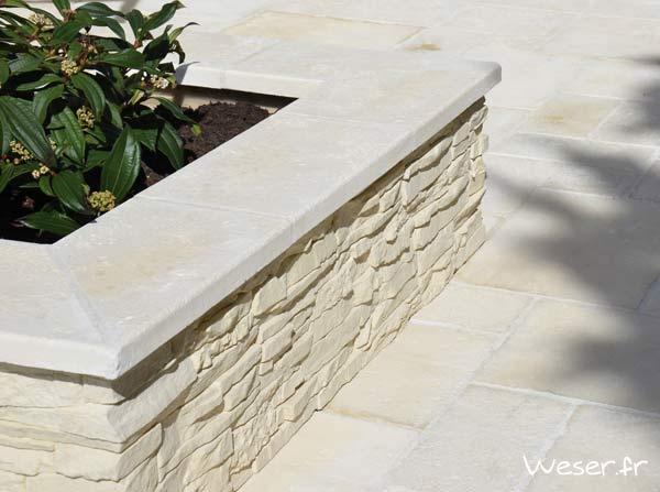 Chaperon de mur veille pierre blanc tradition WESER