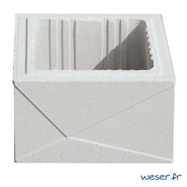 Élément de pilier de clôture ou de portail Prisme Weser - largeur 29 cm - Blanc cassé