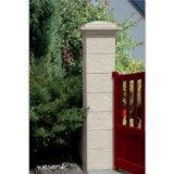 Pilier de clôture et de portail Cheverny Weser - élément de poteau largeur 30 cm, chapiteau largeur 39 et chapeau largeur 30 - Crème