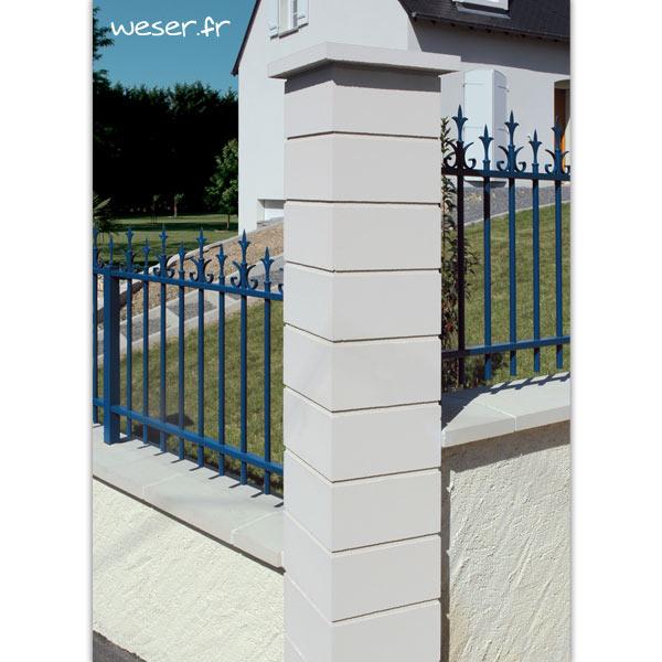 Pilier de clôture Lisse Uni Weser - largeur 29 cm - Blanc cassé