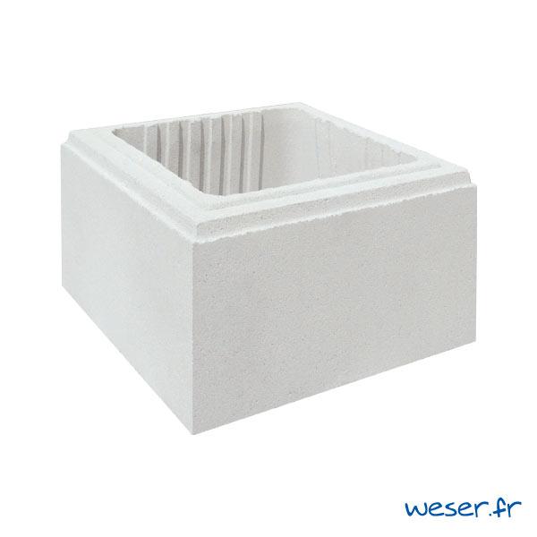 Élément de pilier de clôture Lisse Uni Weser - largeur 29 cm - Blanc cassé