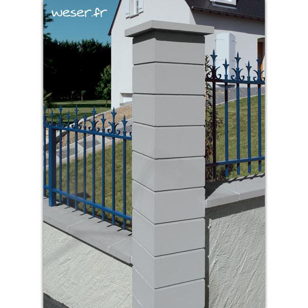 Pilier de clôture Lisse Uni Weser - largeur 29 cm - Gris
