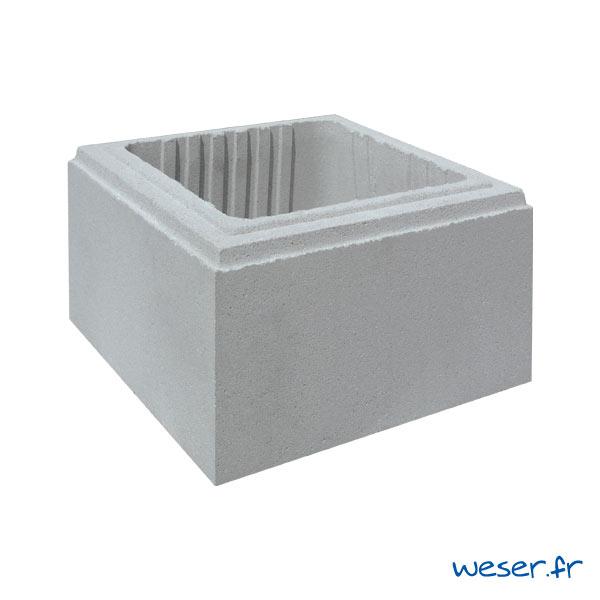 Élément de pilier de clôture Lisse Uni Weser - largeur 29 cm - Gris