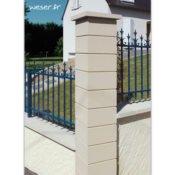 Pilier de clôture Lisse Uni Weser - largeur 29 cm - Ton pierre