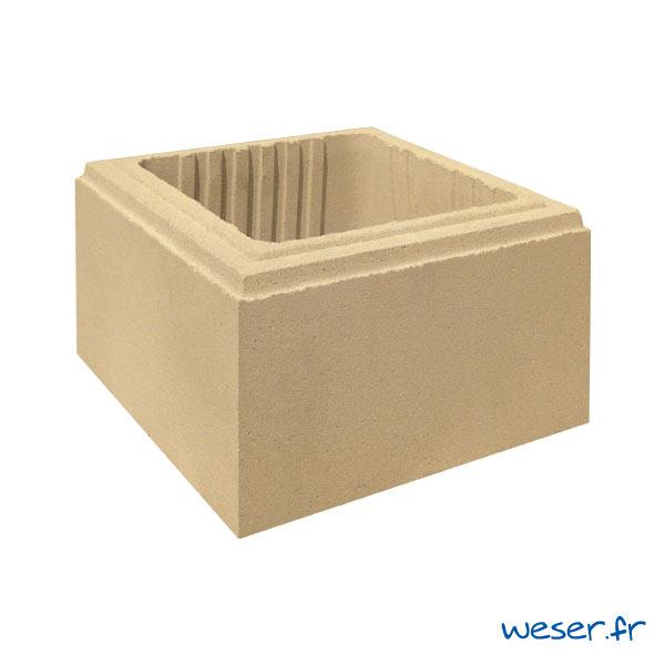 Élément de pilier de clôture Lisse Uni Weser - largeur 29 cm - Ton pierre