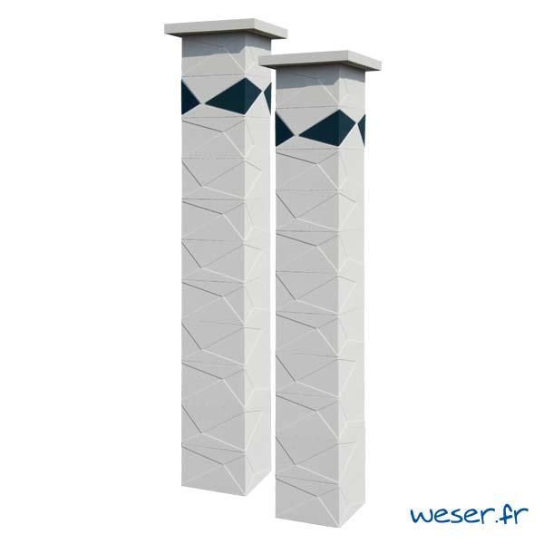 Pilier de clôture et de portail Prisme Weser - Blanc cassé - Insert Gris anthracite
