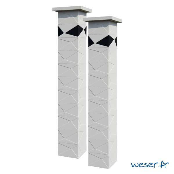 Pilier de clôture et de portail Prisme Weser - Blanc cassé - Insert Noir