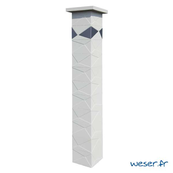Pilier de clôture et de portail Prisme Weser - Blanc cassé - Insert Inox