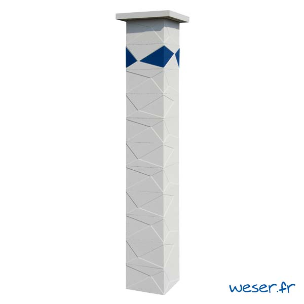 Pilier de clôture et de portail Prisme Weser - Blanc cassé - Insert Bleu