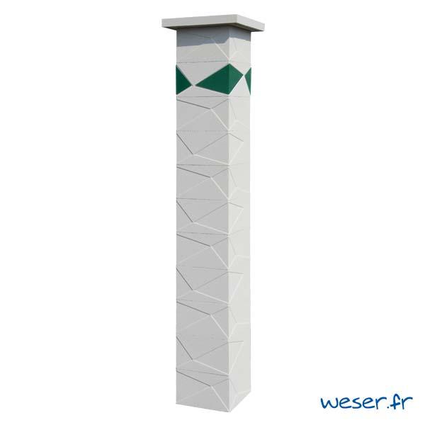 Pilier de clôture et de portail Prisme Weser - Blanc cassé - Insert Vert