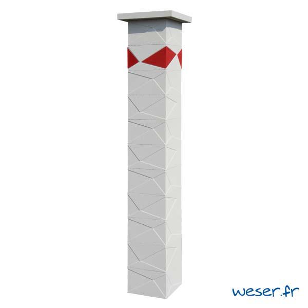 Pilier de clôture et de portail Prisme Weser - Blanc cassé - Insert Rouge