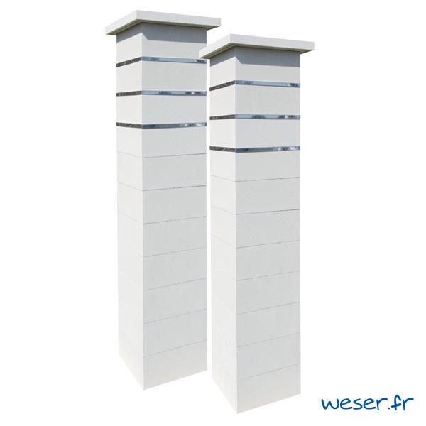 Kit Pilier de clôture pour portail Steel'in - Blanc cassé - Weser