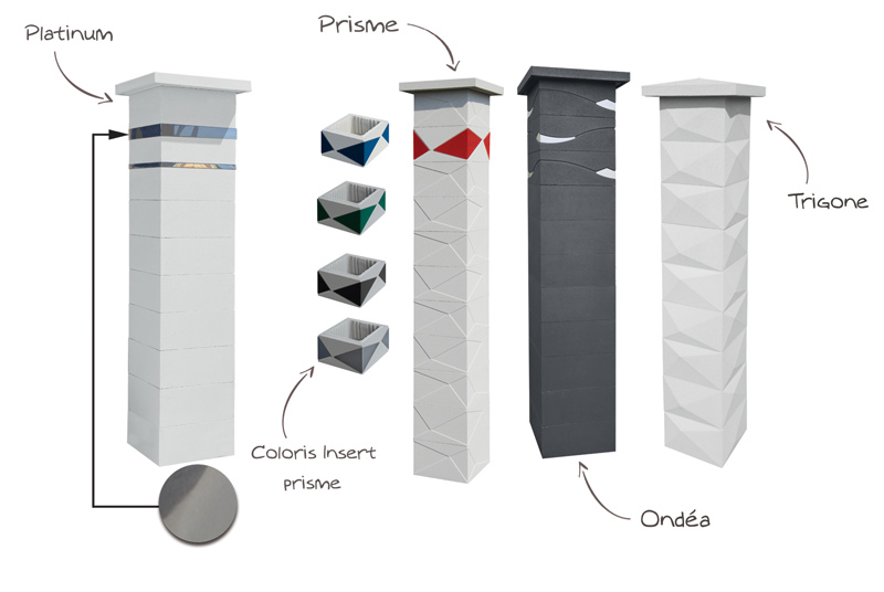 Différents modèles de pilier de portails correspondants au style contemporain. Pilier Platinum, Pilier Prisme pilier ondéa, pilier trigone WESER