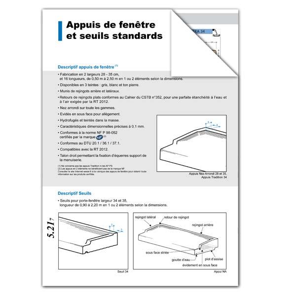 Téléchargez notre documentation sur la pose des appuis de fenêtre et seuils de port standards Weser