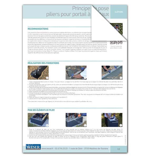 Téléchargez notre documentation sur la pose des piliers avec portail à vantaux Weser