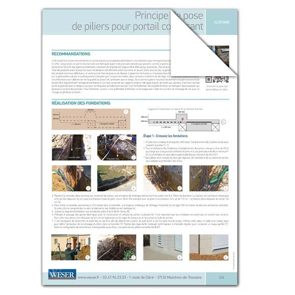 Téléchargez notre documentation sur la pose des piliers avec portail coulissant Weser