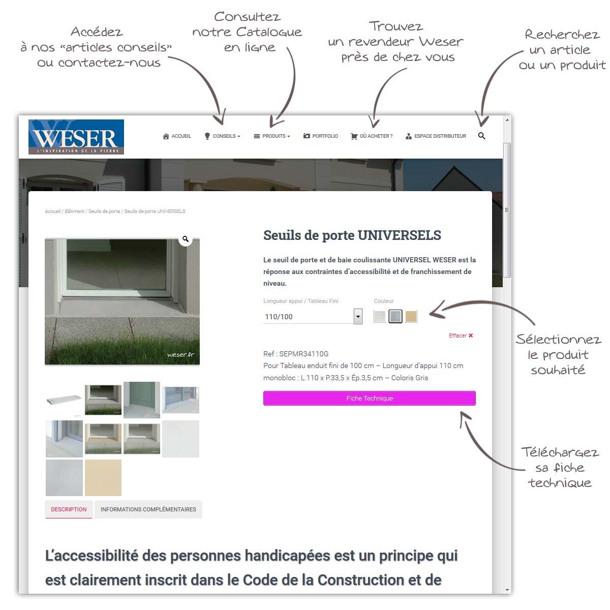Exemple de page produit Weser