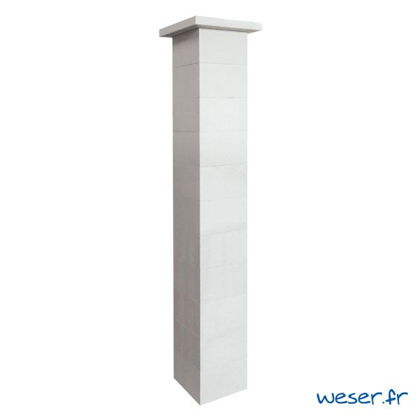 Kit un pilier de clôture complet ACCESS largeur 29 cm - PACCESS29CPLB - Blanc cassé