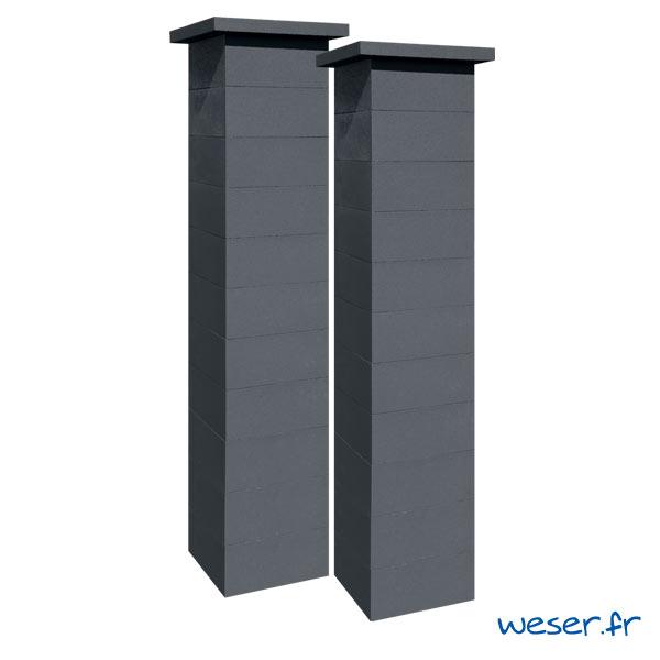 Kit deux piliers de clôture complets PLATINUM LIGHT largeur 39 cm - PPLATINLIGHT39CPL2D - Dark