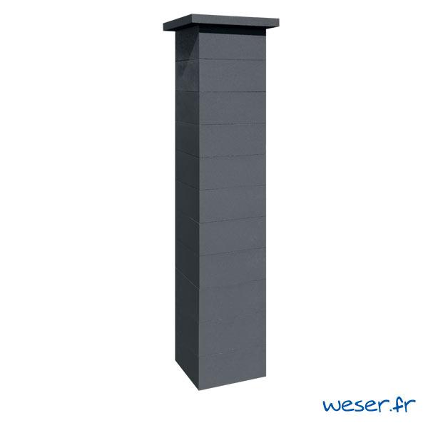 Kit d'un pilier de clôture complet PLATINUM LIGHT largeur 39 cm - PPLATINLIGHT39CPLD - Dark