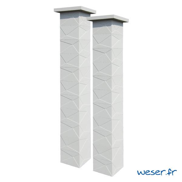 Kit deux piliers de clôture complets PRISME LIGHT largeur 29 cm - PPRISMELIGHT29CPLB- Blanc cassé